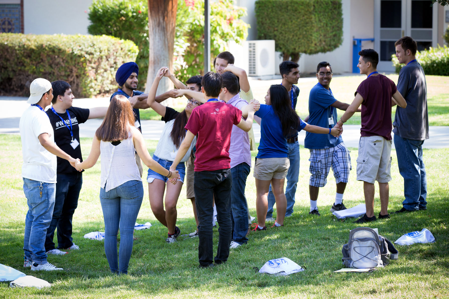 Freshman orientation students during an ice breaking activity.