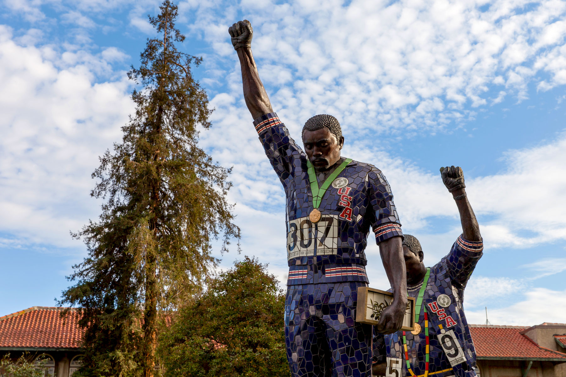 Alumni Tommie Smith and John Carlos Sculpture.