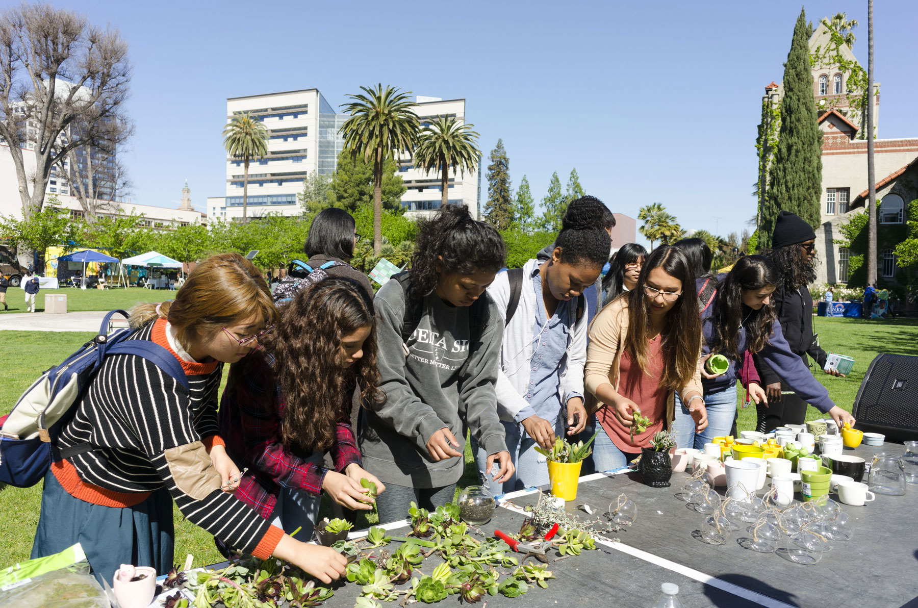Students participating in SJSU's Earth Day.