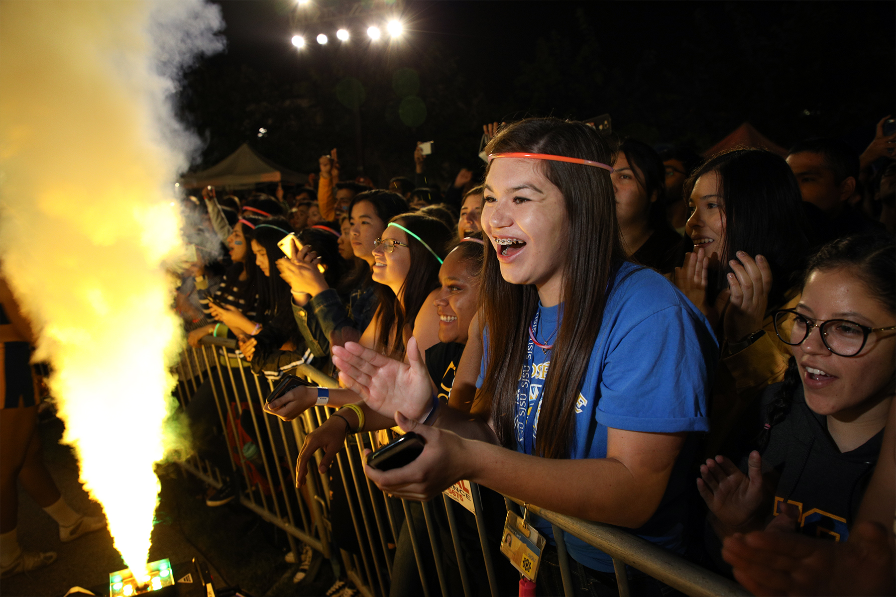 SJSU students enjoying the annual Fire at the Fountain.