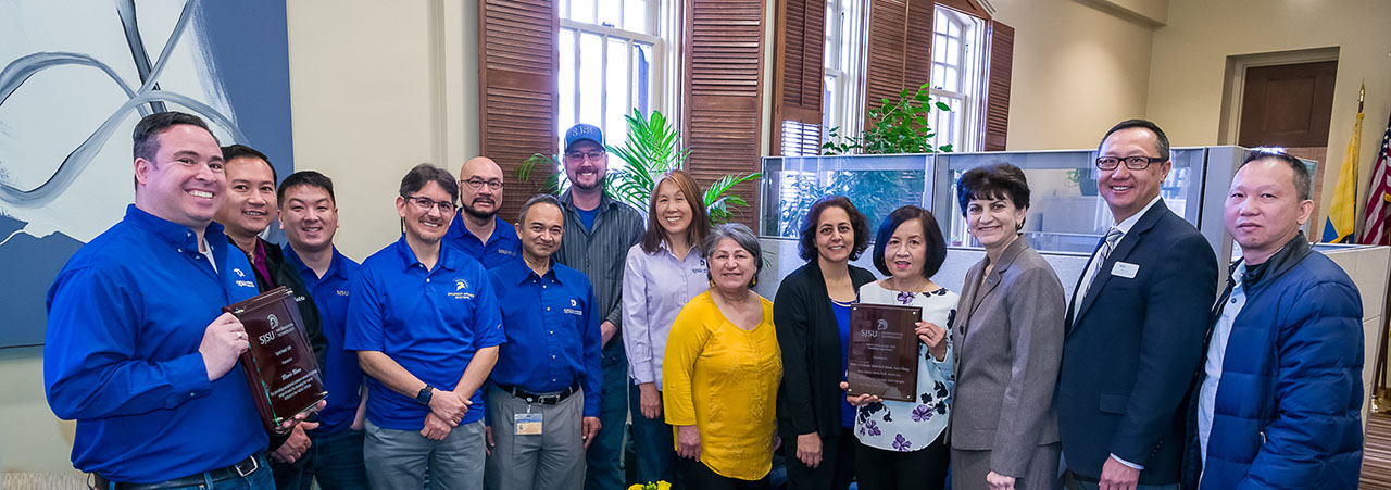 The 2019 SJSU IT Sparta Awards Winners with Mary Papazian and Bob Lim