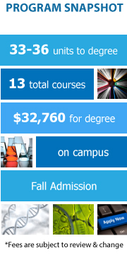 Program Snapshot: 36 units to degree, 13 total courses, $32,760 for degree, on campus, Fall Admission. (Fees are subject to review & change)