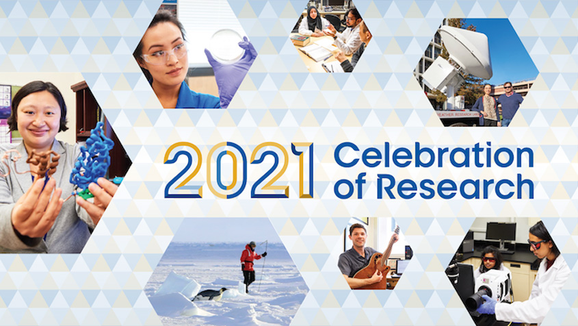 2021 Celebration of Research surrounded by researchers in hexagons