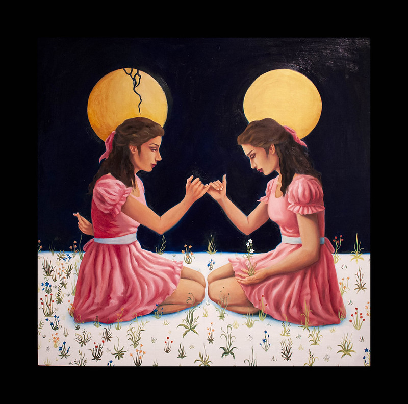 Painting of two young women in pink dresses