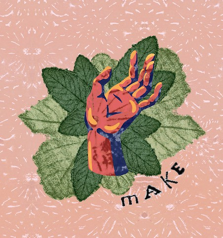 "hand with leaves surrounding it and the word ""make"" in the lower right corner"
