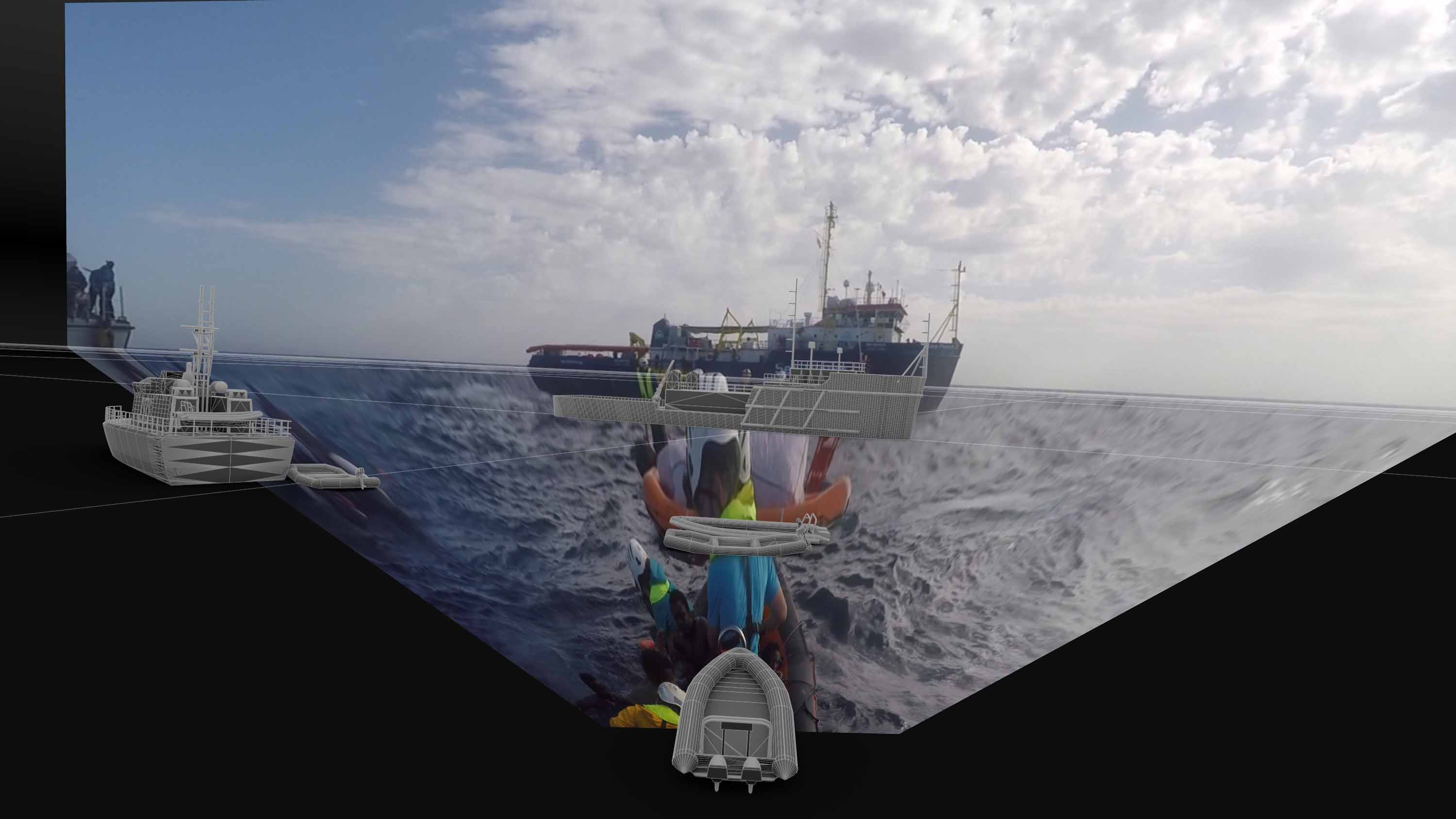 Forensic Architecture, Crew members from the NGO vessel Sea-Watch 2 approach a migrant boat, 2017, Composite of digital models and projected images. Photo credit: Forensic Oceanography and Forensic Architecture, 2018